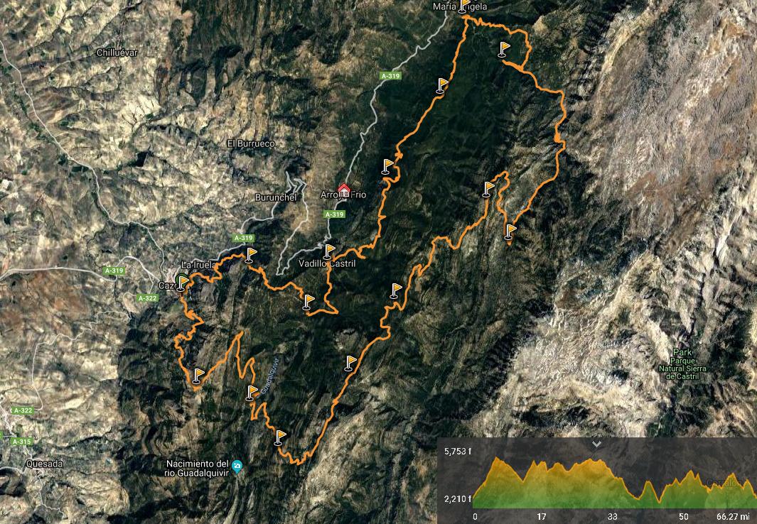 recorrido Ultra Trail Bosques del Sur Sierras de Cazorla